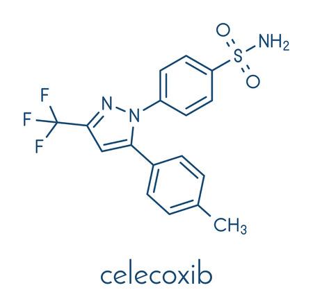 Celecoxib pain and inflammation drug (NSAID) molecule. Skeletal formula.