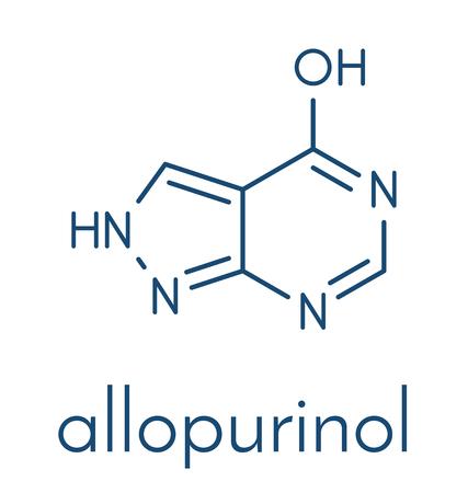 Allopurinol gout drug molecule. Skeletal formula.