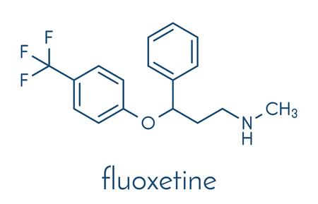Fluoxetine antidepressant drug (SSRI class) molecule. Skeletal formula. Vektorové ilustrace