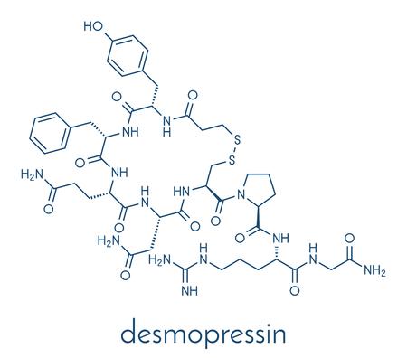 Desmopressin peptide, 바소프레신 호르몬 분자의 합성 대체. bedwetting의 치료에 사용됩니다. 골격 공식. 일러스트