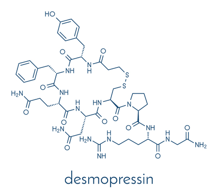 Desmopressin peptide, synthetic replacement of vasopressin hormone molecule. Used in treatment of bedwetting. Skeletal formula.
