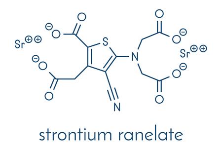 Strontium ranelate osteoporosis drug molecule. Skeletal formula. Illustration