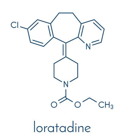 Loratadine antihistamine medicijnmolecuul. Gebruikt om hooikoorts, urticaria en allergieën te behandelen. Skeletformule.