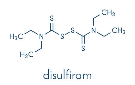 Disulfiram alcoholism treatment drug molecule. Skeletal formula.