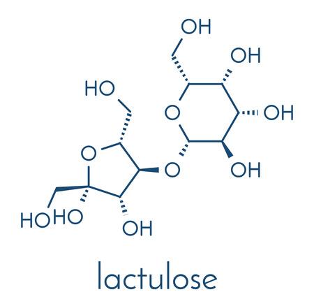 Lactulose chronic constipation drug (laxative) molecule. Skeletal formula.