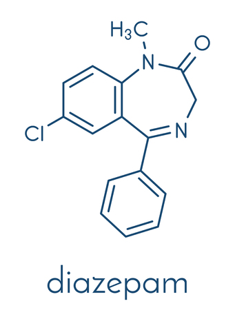 Diazepam sedative and hypnotic drug (benzodiazepine class) molecule. Skeletal formula.
