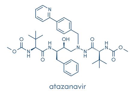 Atazanavir HIV drug (protease inhibitor class) molecule. Skeletal formula. Banco de Imagens - 91297572