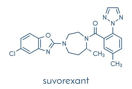 Suvorexant insomnia drug (sleeping pill) molecule. Dual orexin receptor antagonist (DORA) Skeletal formula.