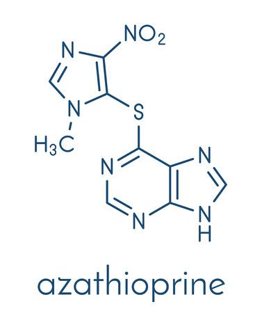 Azathioprine immunosuppressive drug molecule. Used to prevent transplant rejection and in treatment of autoimmune disease. Skeletal formula. Illustration