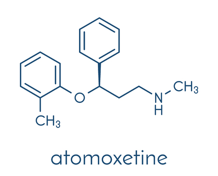 Atomoxetine attention-deficit hyperactivity disorder (ADHD) drug molecule. Skeletal formula.