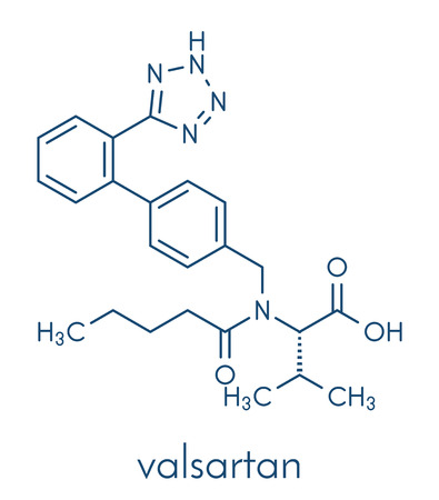 Valsartan high blood pressure (hypertension) drug. Inhibitor of angiotensin II receptor. Skeletal formula. Illustration