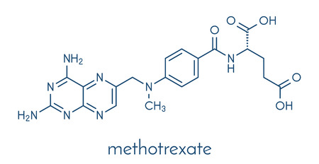Methotrexate cancer chemotherapy and immunosuppressive drug molecule. Skeletal formula. Illustration