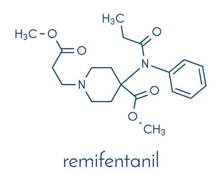 レミフェンタンニル麻酔薬および鎮痛薬分子。骨格式。