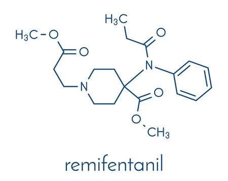 Remifentanil anaesthetic and analgesic drug molecule. Skeletal formula.