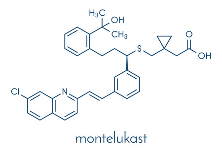 Montelukast asthma and airway allergy drug molecule. Skeletal formula.