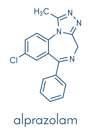 Alprazolam sedative and hypnotic drug (benzodiazepine class) molecule. Skeletal formula.