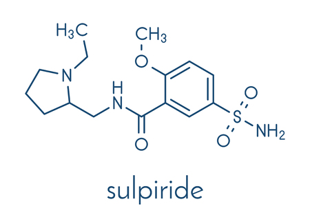 Molécule de médicament antipsychotique (neuroleptique) sulpiride. Formule squelettique. Vecteurs