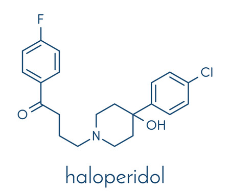 Haloperidol antipsychotic (neuroleptic) drug molecule. Skeletal formula.