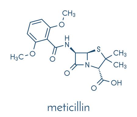 Meticillin antibiotic drug (beta-lactam class) molecule. MRSA stands for Methicillin-resistant staphylococcus aureus. Skeletal formula. Illustration
