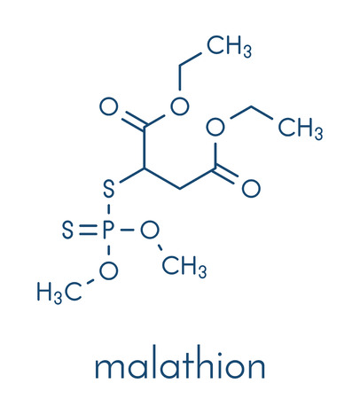 Malathion insecticide molecule. Used to treat head lice, body lice, scabies and in agriculture. Skeletal formula. Illustration