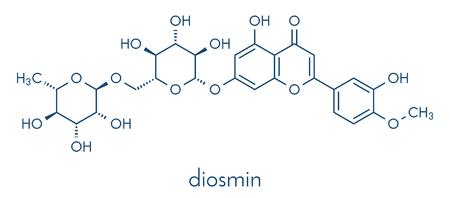 Diosmin venous disease and hemorrhoids drug molecule. Skeletal formula.