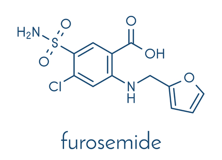 Furosemide diuretic drug molecule. Medically used to treat hypertension. Also used as masking agent in sports doping. Skeletal formula.