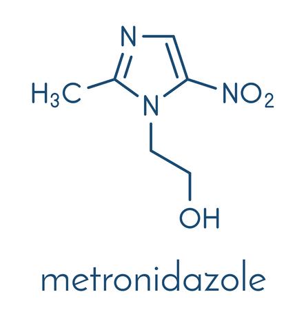 Metronidazole antibiotic drug (nitroimidazole class) molecule. Skeletal formula. Stock Vector - 91297603
