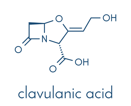 Clavulanic acid beta-lactamase blocker drug molecule. Often combined with beta-lactam class antibiotics. Skeletal formula.