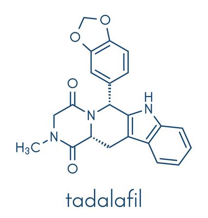 Tadalafil erectile dysfunction drug molecule. Skeletal formula.