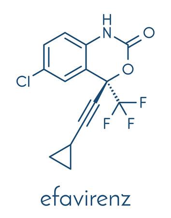 Efavirenz HIV drug molecule. Skeletal formula.