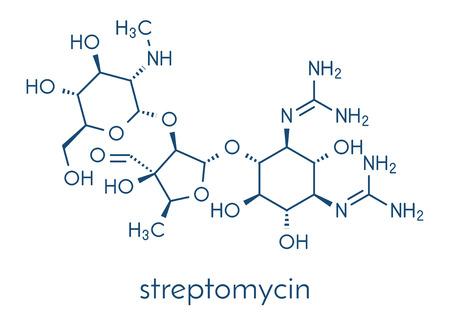 Streptomycin tuberculosis antibiotic (aminoglycoside class) molecule. Skeletal formula. Çizim