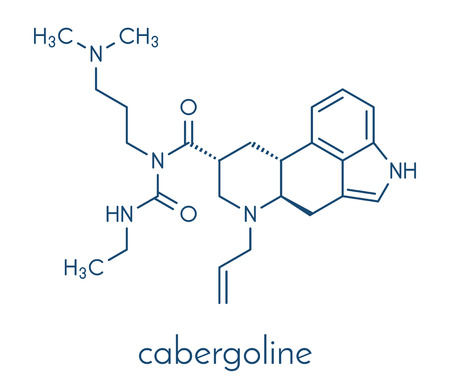 Cabergoline drug molecule. Used in Parkinsons disease and other disease conditions. Skeletal formula.