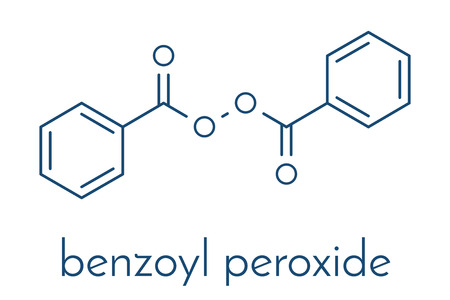 Benzoyl peroxide acne treatment drug molecule. Also used to dye hair and whiten teeth (bleaching). Skeletal formula.