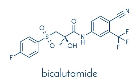 Bicalutamide prostate cancer drug (anti-androgen) molecule. Skeletal formula. 向量圖像