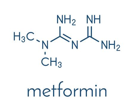 Metformin diabetes drug (biguanide class) molecule. Skeletal formula.
