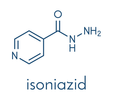 Isoniazid (isonicotinylhydrazine, INH) tuberculosis antibiotic, chemical structure Skeletal formula.