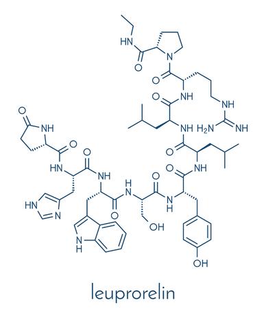 Leuprorelin (leuprorelide) breast and prostate cancer drug molecule. Skeletal formula. Ilustração