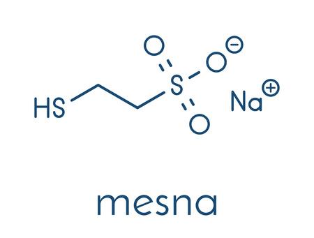 Mesna cancer chemotherapy adjuvant and mucolytic drug molecule. Skeletal formula. Banco de Imagens - 91297653
