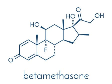 Betamethasone anti-inflammatory and immunosuppressive steroid drug molecule. Skeletal formula.