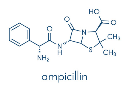 Ampicillin beta-lactam antibiotic drug molecule. Skeletal formula. Illustration