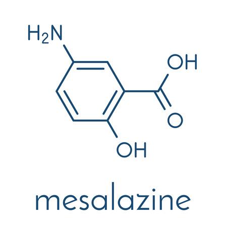 Mesalazine (mesalamine, 5-aminosalicylic acid, 5-ASA) inflammatory bowel disease drug molecule. Used to treat ulcerative colitis and Crohn's disease. Skeletal formula.