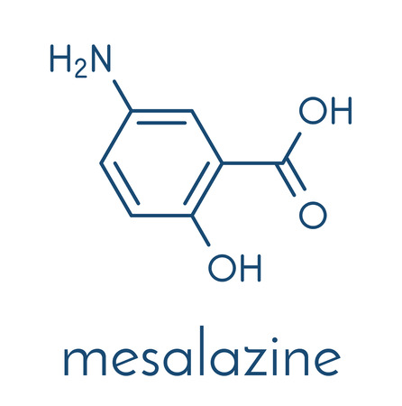 Mesalazine (mesalamine, 5-aminosalicylic acid, 5-ASA) inflammatory bowel disease drug molecule. Used to treat ulcerative colitis and Crohns disease. Skeletal formula. Çizim