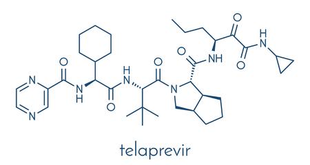 Telaprevir hepatitis C virus drug molecule. Skeletal formula. Ilustração