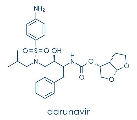 Darunavir HIV 약 (protease 억제 물 종류) 분자. 골격 공식. 일러스트