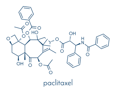 Paclitaxel cancer chemotherapy drug molecule. Skeletal formula.