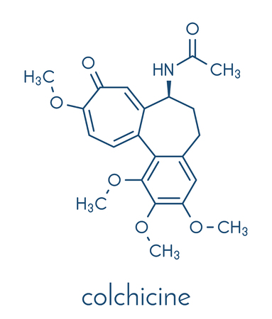 Colchicin gout drug molecule. Skeletal formula.