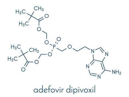 Adefovir dipivoxil hepatitis B and herpes simplex virus (HSV) drug molecule. Skeletal formula.