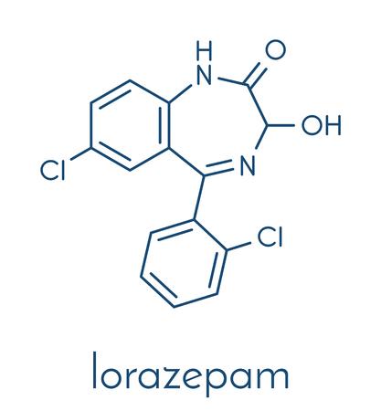 Lorazepam kalmerende en hypnotische drug (benzodiazepine klasse) molecuul. Skeletformule. Stockfoto - 91297706