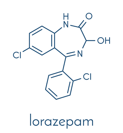 Lorazepam sedative and hypnotic drug (benzodiazepine class) molecule. Skeletal formula.