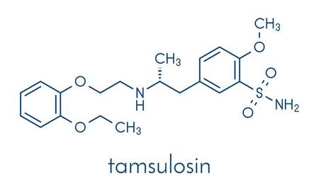 Tamsulosine, une molécule médicamenteuse de l'hyperplasie bénigne de la prostate (HBP). Formule squelettique. Vecteurs